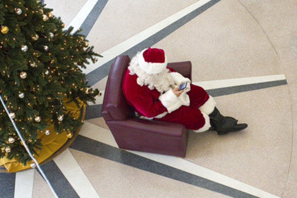 Christmas calls and short messages, illustrative stock photo