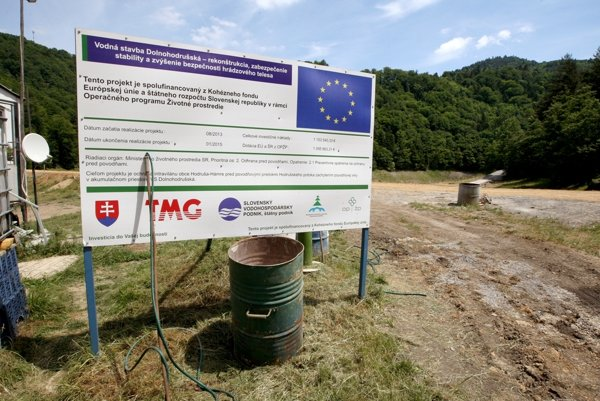 Boards across Slovakia show EU co-financed projects.