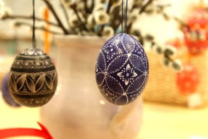 Egg painting in traditional Slovak style