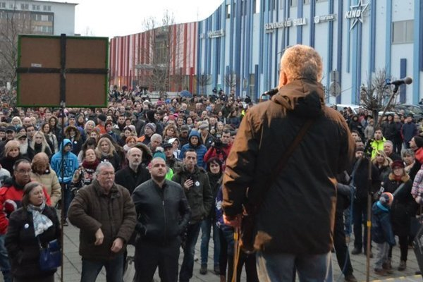 For Decent Slovakia, protest in Lučenec on March 9.