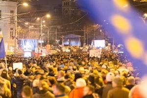 The protest 'For a decent Slovakia' in SNP Square, Bratislava, March 16.