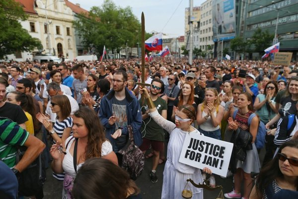 About 25,000 people attended the protest march in Bratislava on May 4.