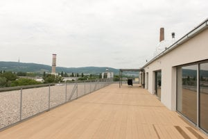 The terrace belonging to the lofts.