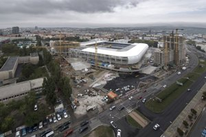 The construction of National Football Stadium in Bratislava, September 4, 2018 - aerial view.