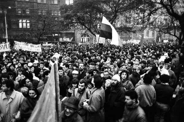 SNP Square during the Velvet Revolution