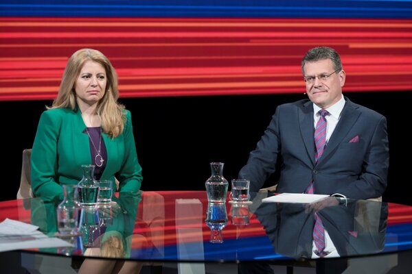 Second round runner-ups Zuzana Čaputová and Maroš Šefčovič