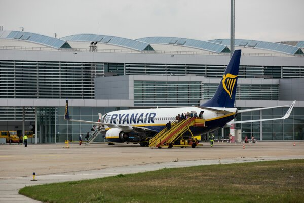 Ryanair plane at Bratislava airport.