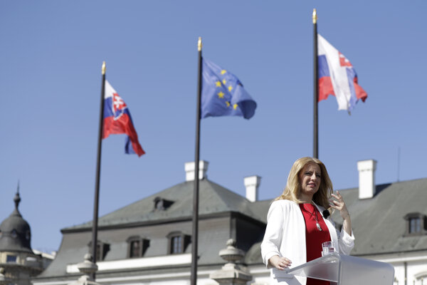 Zuzana Čaputová in front of the Presidential Palace