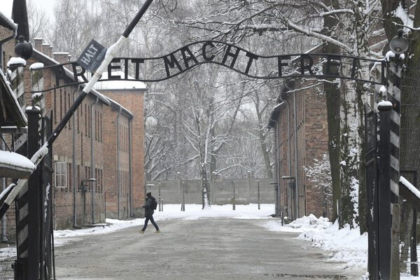 "The entrance to the former Nazi Death Camp Auschwitz with the ""Arbeit Macht Frei"" (Work Sets you Free) sign above, in Oswiecim, Poland."