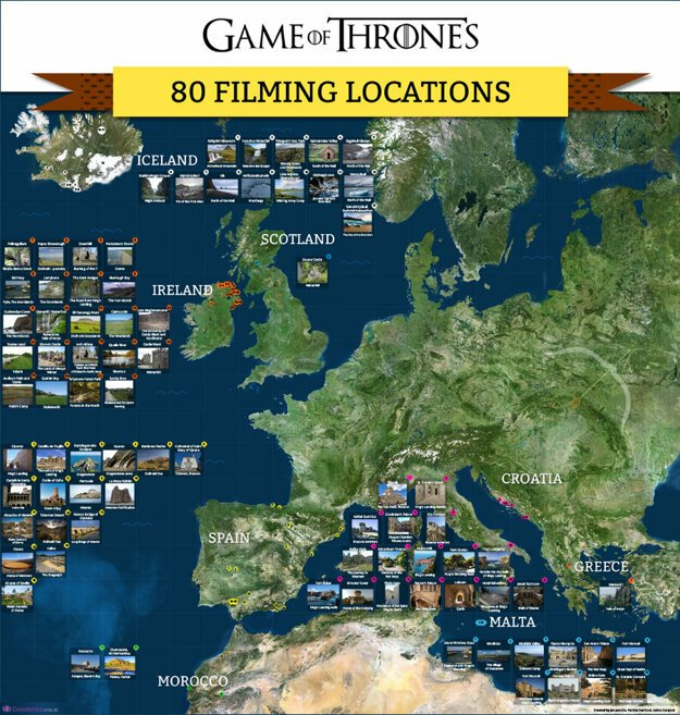 Game of Thrones map with 80 filming localities.