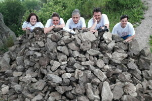 Volunteers carried stones for the restoration of the fortification of the Šebeš castle in Prešov Region.