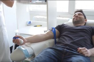 Firstimer during blood donation.