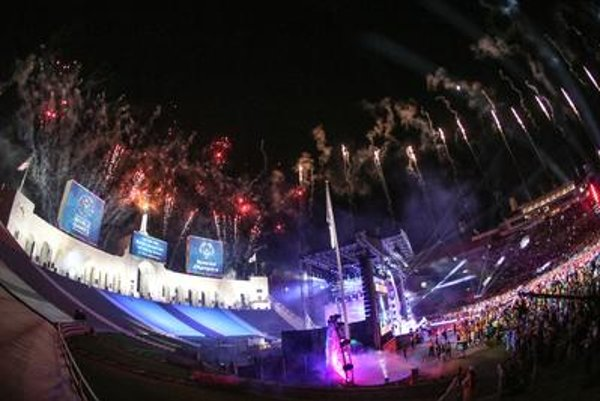 A firework display closes out the Opening Ceremony of the 2015 Special Olympics World Games at Los Angeles