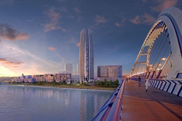 A visualisation of the Eurovea 2 project, including Slovakia's first skyscraper, Eurovea Tower