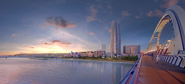 A visualisation of the Eurovea 2 project, including Slovakia's first skyscraper, Eurovea Tower