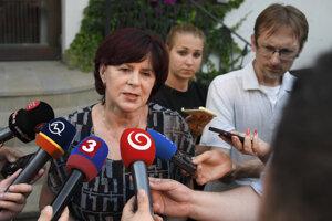 Monika Smolková, a former MEP and Smer chair in the Košice 3 borough, speaks to the media on June 13, 2019 in Malá Ida, eastern Slovakia