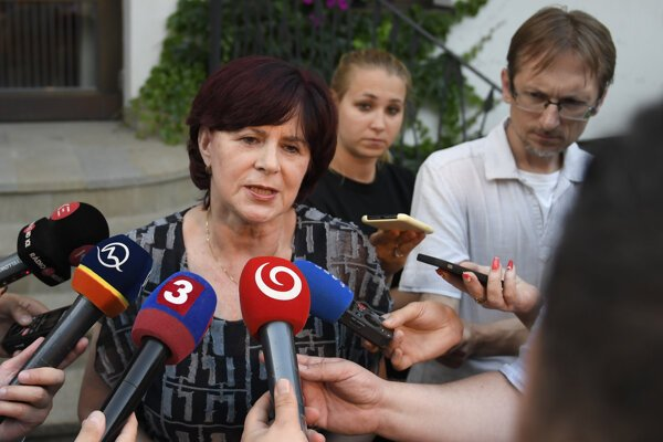 Monika Smolková, a former MEP and Smer chair in the Košice 3 borough, speaks to the media on June 13, 2019 in Malá Ida, eastern Slovakia