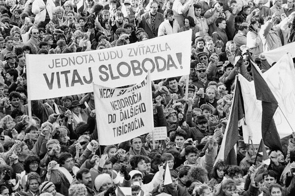 A photo portrays the atmosphere during the Velvet Revolution on November 17, 1989