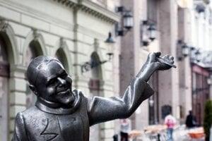People may come across the statue of Schöne Náci near the Main Square in Bratislava