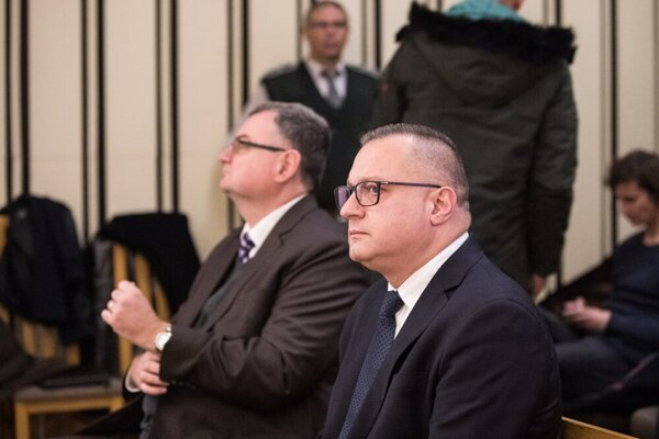 Tipos ex-head Ján Barczi (right) and Tipos ex-IT head Miloš Prelec (left) attend the court on December 5, 2019 in Bratislava