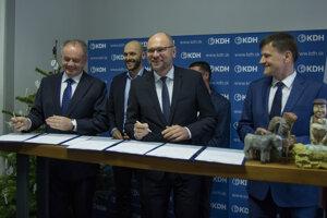 l-r: Andrej Kiska (Za Ľudí), Michal Truban (PS/Spolu), Richard Sulík (SaS), Alojz Hlina (KDH)