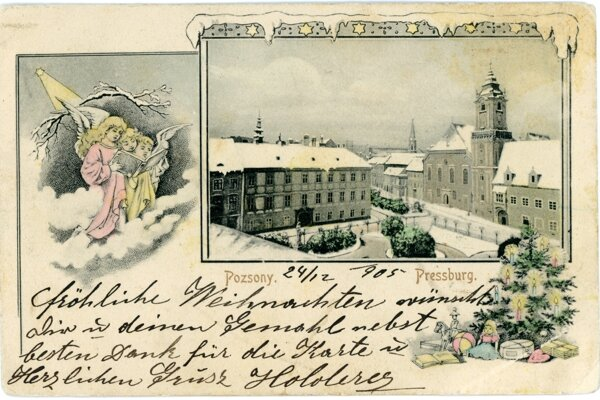 A historical Chsristmas postcard from Bratislava