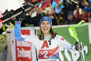 Slovakia's Petra Vlhová celebrates after winning an alpine ski, women's World Cup slalom in Flachau, Austria.