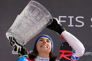 Slovakia's Petra Vlhová poses with a trophy from women's World Cup slalom in Kranjska Gora, Slovenia.