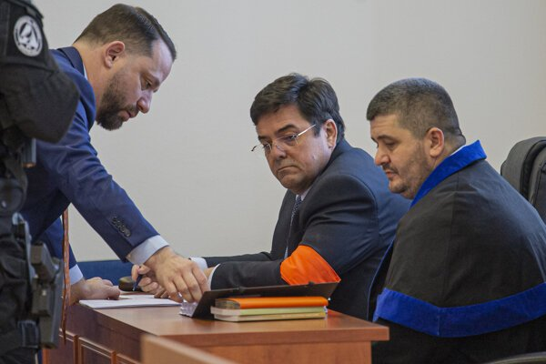 Marian Kočner and his lawyers.