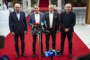 Richard Sulík (SaS), Igor Matovič (OĽaNO), Boris Kollár (Sme Rodina) and Andrej Kiska (Za Ľudí), from left.