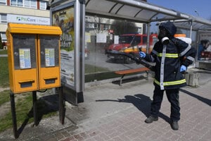 The disinfection of a public transport station in Prešov.