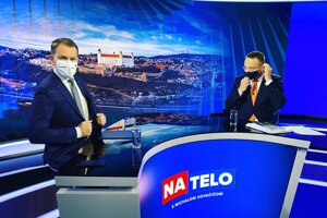 PM Igor Matovič (left) was a guest on the TV programme Na telo, hosted by Michal Kovačič (right), on Sunday, April 26, 2020.