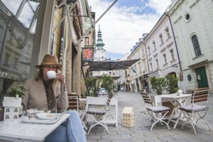 Terraces are popular during the summer in Bratislava.