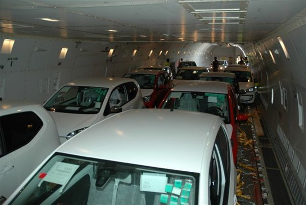 Air transport of cars manufactured by Volkswagen Slovakia.