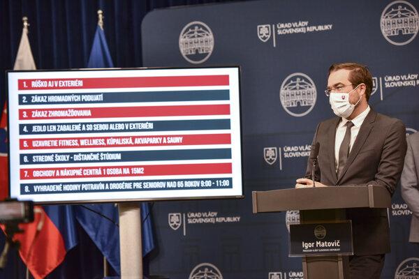 Health Minister Marek Krajčí introduces new restrictions on October 11.