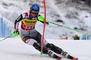 Petra Vlhová competes during the first run of the alpine ski, women's World Cup slalom in Levi.