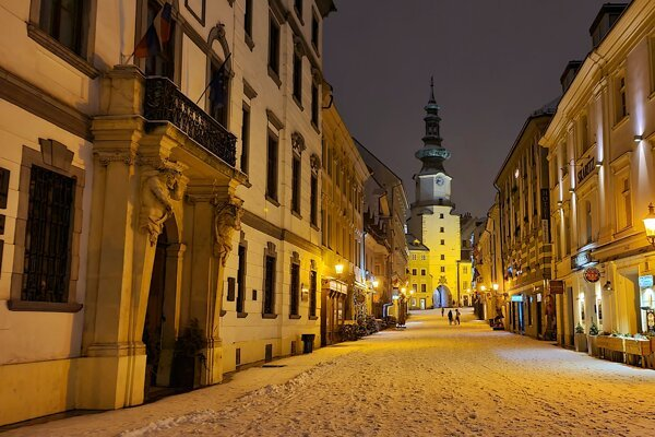 Bratislava's Old Town on a snowy night in January 2021.