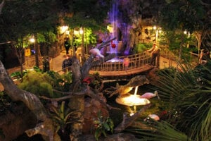 Buffalo Zoo - Rainforest Building - Exhibit Hall View in the night.