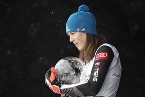 Petra Vlhova with the Large Crystal Globe