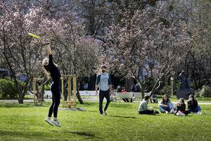 WEEK 15: Locals enjoy nice April weather in Bratislava's Medical Garden.