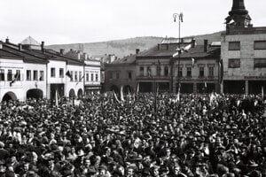 A historical May Day rally in Zilina.