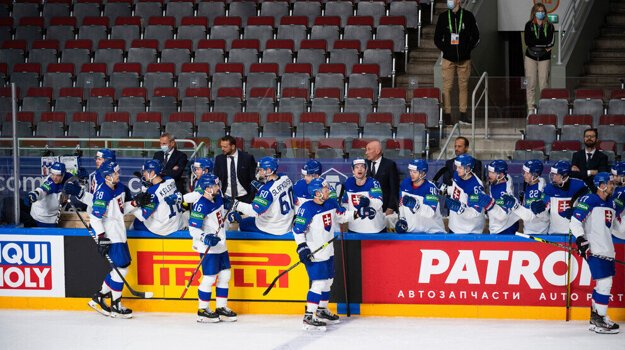 Slovak ice hockey team during their last match at the World Ice-Hockey Championship in Latvia in 2021.