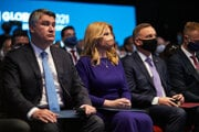 l-r: Croatian President Zoran Milanović, Slovak President Zuzana Čaputová and Polish President Andrzej Duda