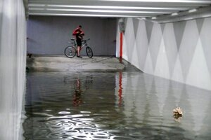 Flooded underpass near the University of Economics in Bratislava.