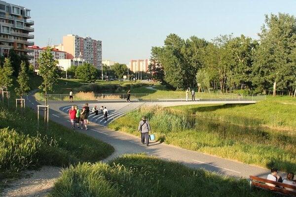 One of the winning designs for a bridge over the Danube's branch in Petržalka, Bratislava.