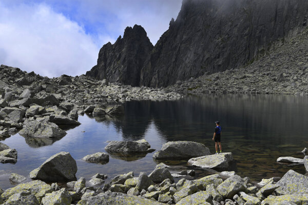 Pictured is the Sharp Tower above the Lower Wahlenberg Lake in the Furkotská dolina valley in the High Tatras.