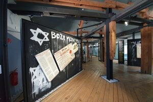 The exhibits inform about how Jews were treated during World War II.