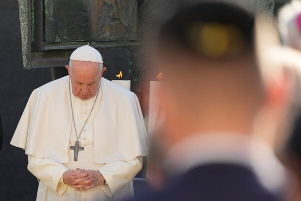 Pope Francis at the Rybne Square in Bratislava