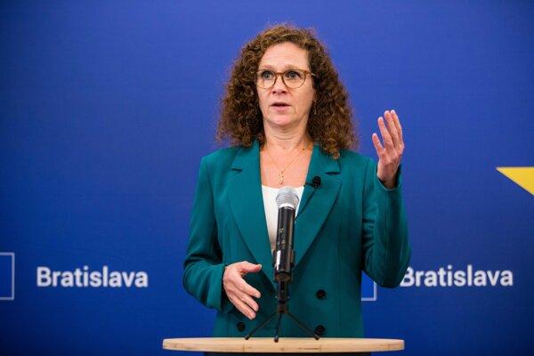 Sophie in 't Veld during a press conference in Bratislava.