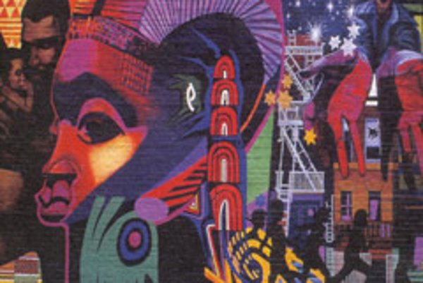 This mural by artists Calvin Jones and Mitchell Canton integrates African themes.